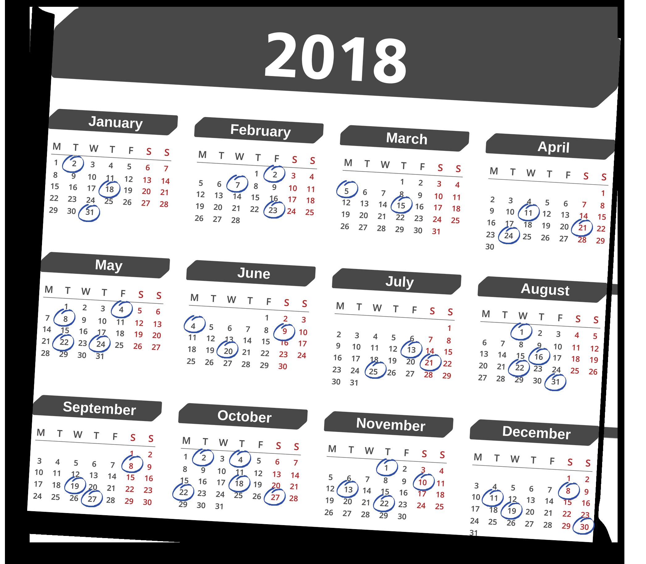 2018 Dividend Calendar High Yield Wealth