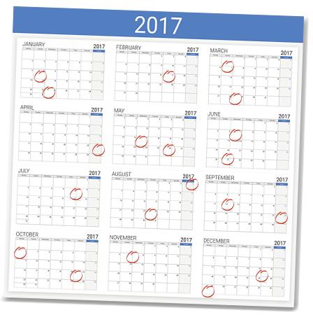 2017 Dividend Calendar High Yield Wealth